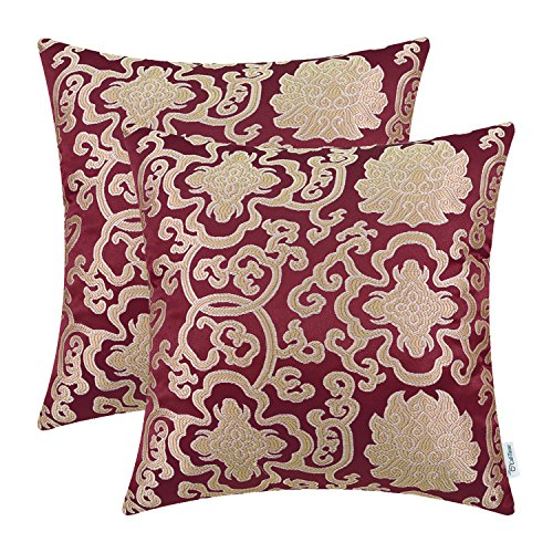Pack of 2, CaliTime Soft Throw Pillow Covers Cases for Couch Sofa Home Decor, Vintage Damask Floral Chain, 18 X 18 Inches, Burgundy (And Red Pillows Accent Gold)