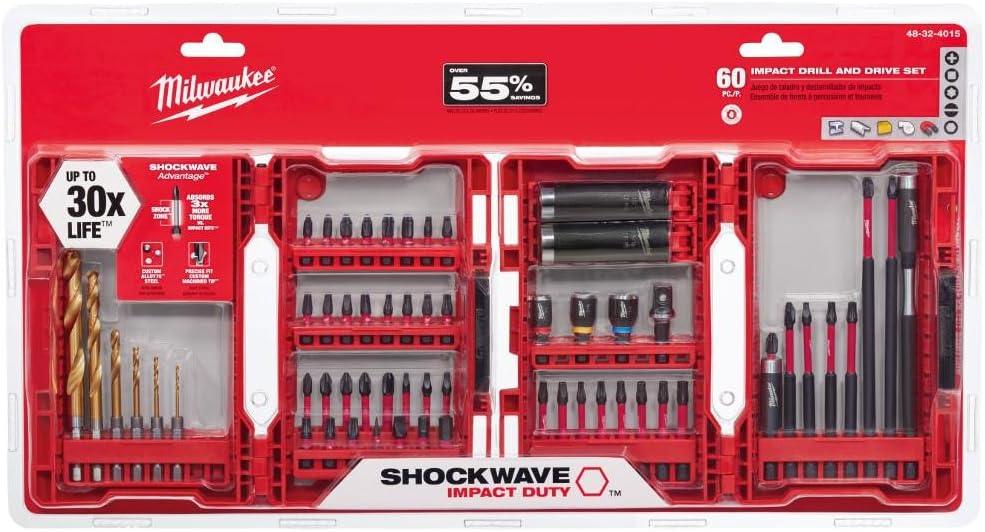145-Piece SHOCKWAVE Steel Drill and Driver Bit Set Milwaukee 48-32-4079
