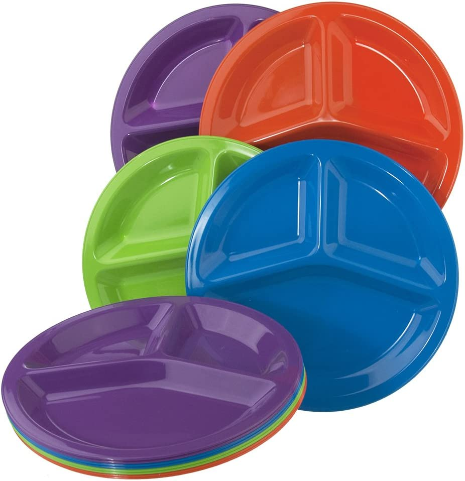set of 12 in 4 Assorted Colors US Acrylic 9249 10-inch Round Plastic Divided Plates