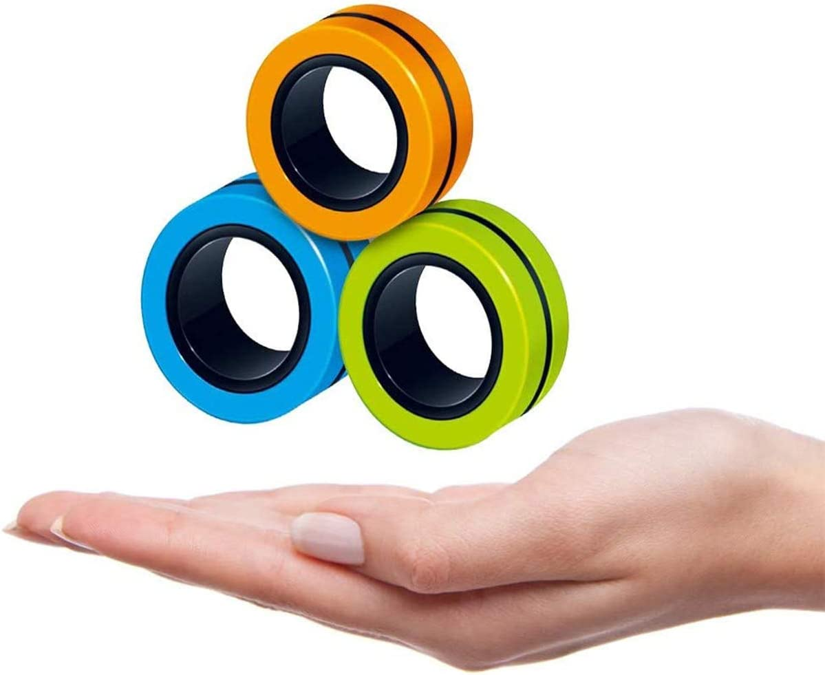 AKKO 3PCS Decompression Magnetic Magic Ring-Magnet Toy,Magnetic Fingertip Toys,Stress Relief Magical Rings,Finger Fidget Toy Suitable for Anxious People-Orange