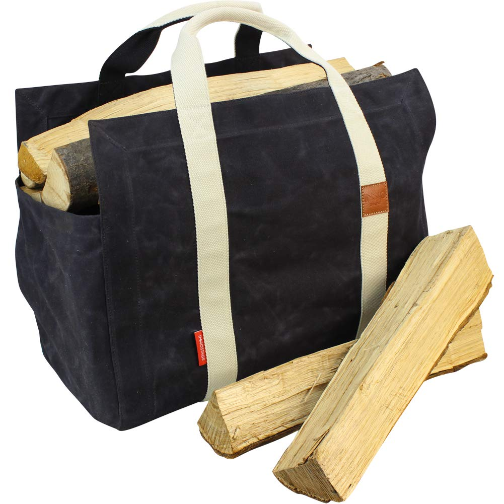 INNO STAGE Waxed Canvas Firewood Log Carrier Tote Bag with Cotton Fabric and Double Straps for Reinforce - Both Inside and Outside by INNO STAGE