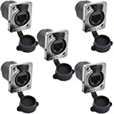 Anmbest 5PCS Panel Mounting Shielded RJ45 IP65 Waterproof PCB Signal Panel Cat5/5e/6 8P8C Connector Ethernet LAN Cable Connec
