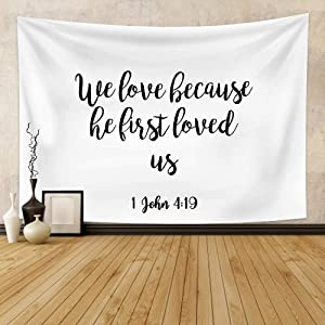 OFila Bible Verse Tapestry We Love Because He First Loved Us Christian Psalm Quote Tapestry Boho Hippie Vintage Letters Art Design Wall Hanging for Home Bedroom Living Room Dorm Decor 33.9x27.6 Inch