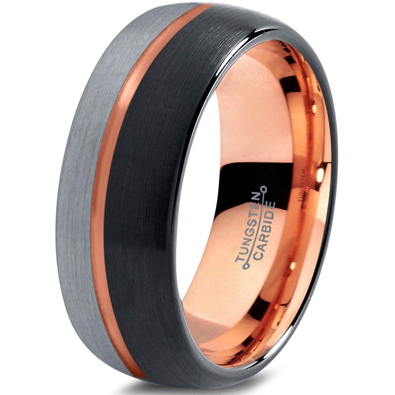 Tungsten Wedding Band Ring 8mm for Men Women Black & 18K Rose Gold Plated Offset Line Domed Half Brushed Polished