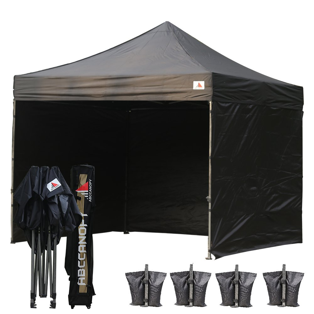 Abccanopy 8x8 Pop up Canopy Instant Outdoor Party Tent Shade Gazebo+4 Side Walls + Wheeled Cary Bag Bonus 4x Weight Bag (black)