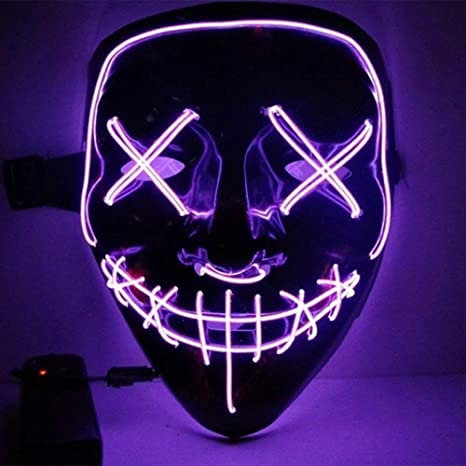 DAVITU DC3V Batttery Powered LED Cold Light Flash Grimace Fluorescent Mask with Controller for Halloween -