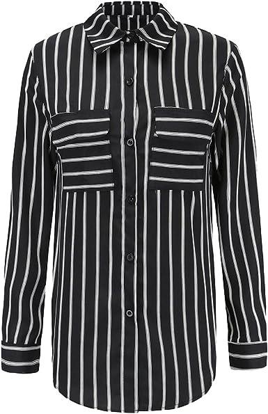 FENICAL Blusa para Mujer OL Ladies Manga Larga Blusa Blanca a Rayas Negras Camisa Slim Mujer - Talla S: Amazon.es: Ropa y accesorios