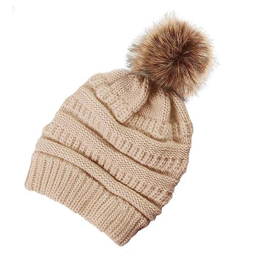de84a5ffd28 jiuhongxing Women Knit Slouchy Beanie Chunky Baggy Hat with Pompom Winter  Soft Warm Ski Cap