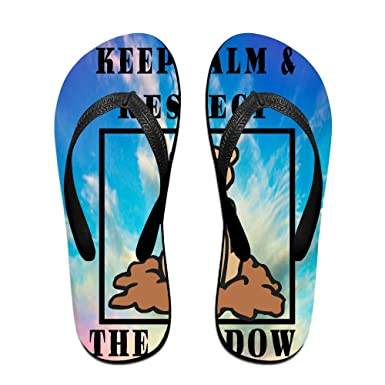 Unisex Non-slip Flip Flops Keep Calm Groundhog Shadow Cool Beach Slippers Sandal