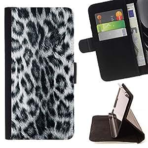 Momo Phone Case / Flip Funda de Cuero Case Cover - Patrón Leopard Panther peluda gris Estilo - LG OPTIMUS L90