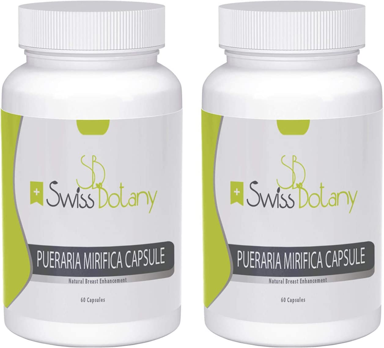 Swiss Botany Pueraria Mirifica Capsules for Natural Bust Enhancement, Restore Elasticity and Smoothness, Improve Skin, Hair and Nails, Take with Food, 120 Capsules, 2 Bottles