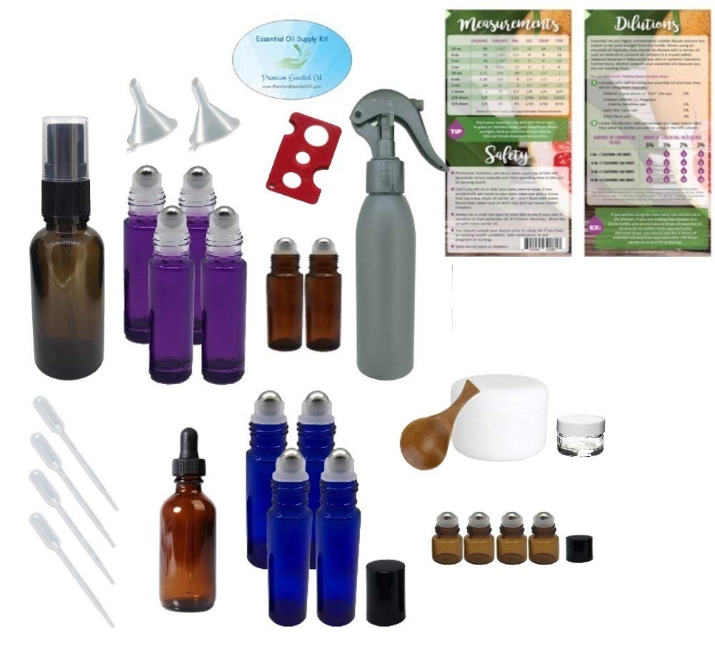 Essential Oil Supply Kit - Purple, Blue, Amber Roller Bottles, Cream Jars, Spray and Dropper Bottles, Funnels, Bottle Cap Remover, Pipettes, Spoon, Dilutions Chart (Deluxe 3) by Premium Essential Oil