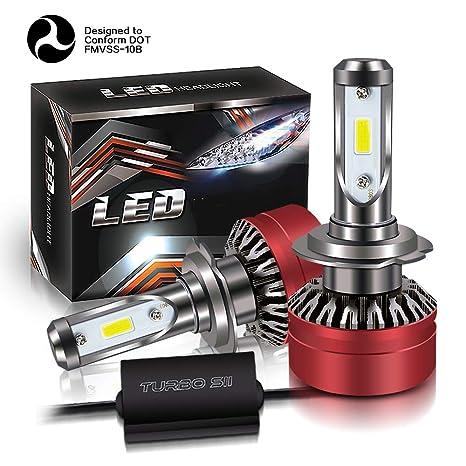 TURBO SII Super Bright 2PCS LED Headlight Bulbs Conversion Kits H7 Vision - Waterproof 12000lm 6000K