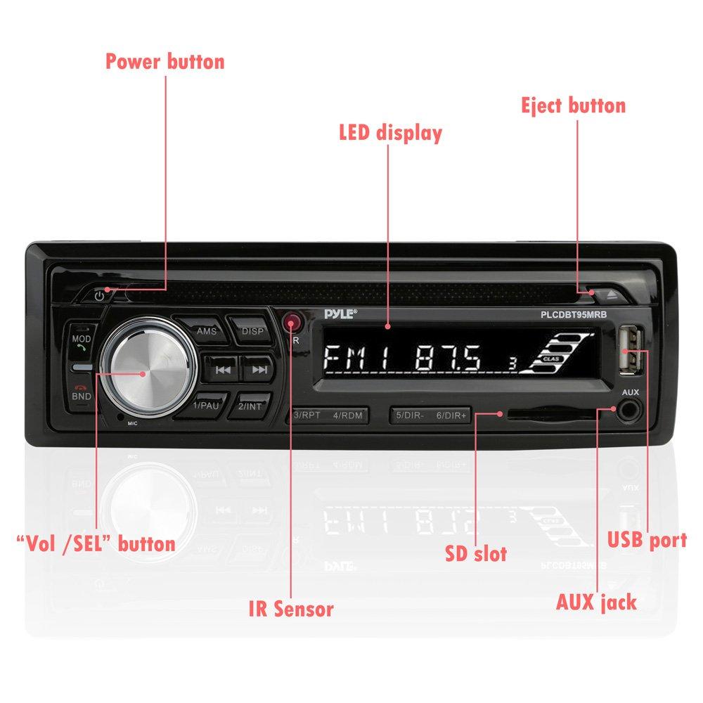 Pyle PLCDBT95MRB 6.5 Waterproof Speakers Sound Around Wireless Bluetooth Marine Audio Stereo Kit w//Single DIN Universal Size Radio Receiver 6.5 Waterproof Speakers MP3//USB//SD Readers /& AM//FM Radio CD Player Hands-Free Calling