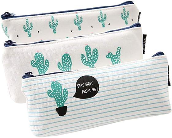 iTemer lindo patrón de cactus con cremallera caja de lápiz bolsa de almacenamiento billetera adecuada para estudiantes de la escuela para utilizar 3 piezas: Amazon.es: Oficina y papelería