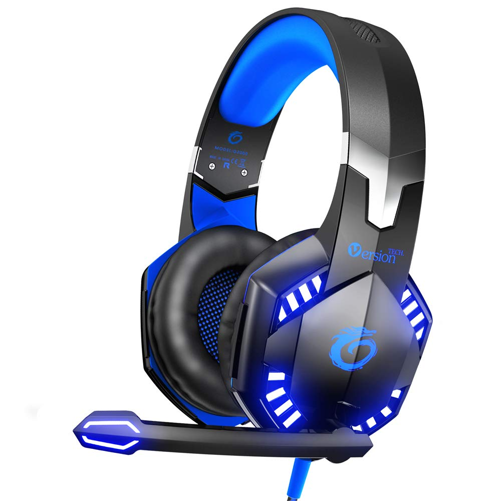 VersionTECH. G2000 Stereo Gaming Headset for Xbox One PS4 PC, Surround Sound Over-Ear Headphones with Noise Cancelling Mic, LED Lights, Volume Control for Laptop, Mac, PS3, Nintendo Switch Games -Blue by VersionTECH.