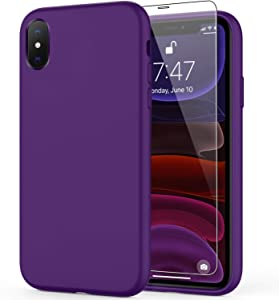 DEENAKIN iPhone X Case Dark Purple,iPhone Xs Case with Screen Protector,Soft Liquid Silicone Gel Rubber Bumper Cover,Slim Fit Shockproof Protective Phone Case for iPhone Xs/iPhone X