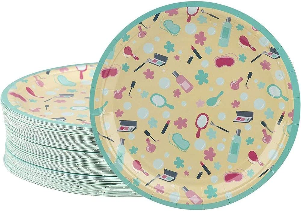 Disposable Plates - 80-Count Paper Plates, Spa Party Supplies for Appetizer, Lunch, Dinner, and Dessert, Kids Birthdays, 9 x 9 inches