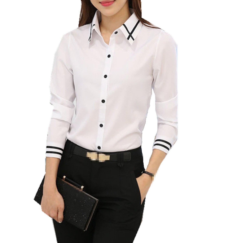 61aebaa3 Taiduosheng Womens Basic Long Sleeve Slim Button Down Collared Shirts OL  Work Shirts: Amazon.ca: Clothing & Accessories