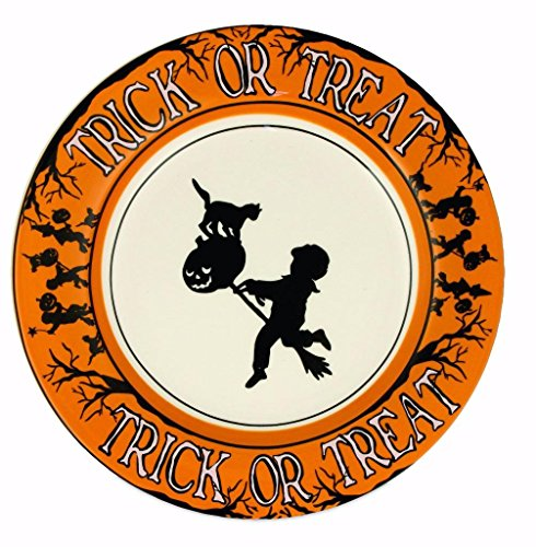 Bethany Lowe Halloween Party Ceramic Salad Plate, Witch, Ghouls and Boo, 9