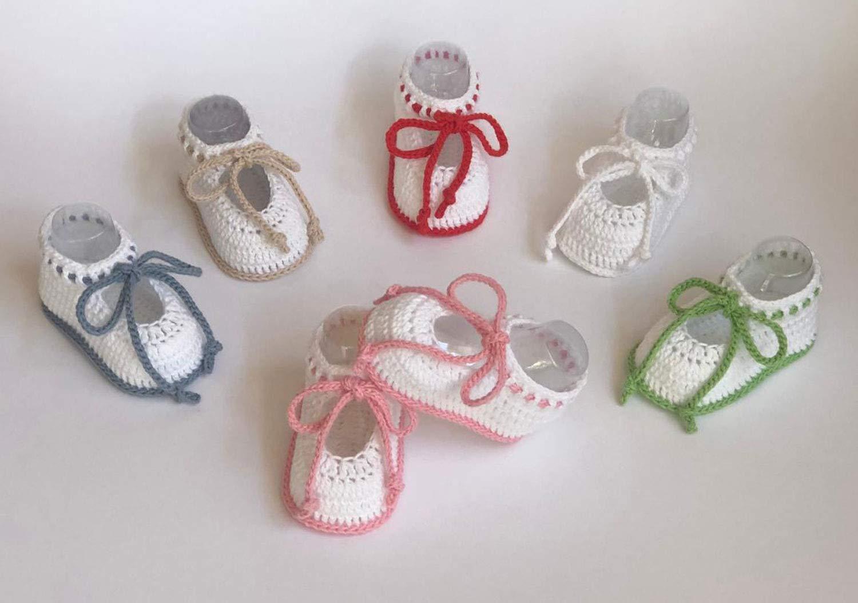 Patucos de ganchillo, hechos a mano, para bebés, de 0-3 ...