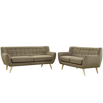 Amazing Modway Remark Mid Century Modern Sofa And Loveseat Living Room Furniture With Upholstered Fabric In Brown Ibusinesslaw Wood Chair Design Ideas Ibusinesslaworg