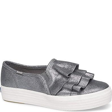 2a408c6c50b6 Keds Women s Triple Ruffle Glitter Suede Sneakers Grey  Amazon.co.uk ...