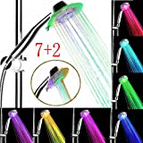 Rainbow Shower Head NALEDI 7 Color Changing Fast Flashing Rainbow Showerhead with 2 Water Setting Effectively filter impurities , led Bathroom Handheld shower head for Home, Hotel, Spa