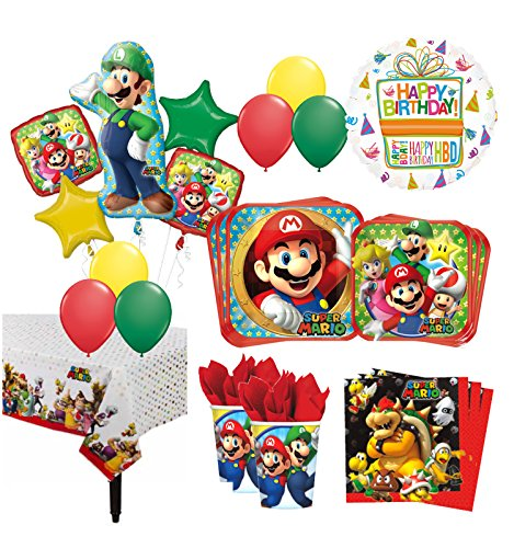 The Ultimate 8 Guest 53pc Super Mario Brothers Birthday Party Supplies and Balloon Decoration Kit ()