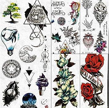 yyyDL Triángulo geométrico estrella planetas tatuajes temporales ...