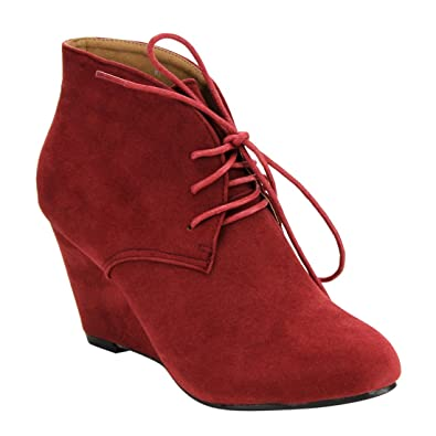 DE06 Women's Lace Up Wrapped Heel Ankle Wedge Booties Run One Size Small