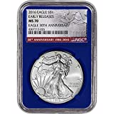 #10: 2016 American Silver Eagle (1 oz) Early Releases 30th Anniversary Blue Holder $1 MS70 NGC