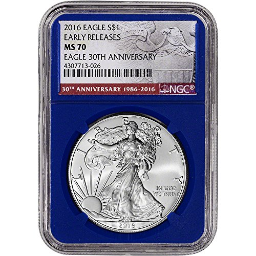2016 American Silver Eagle (1 oz) Early Releases 30th Anniversary Blue Holder $1 MS70 NGC