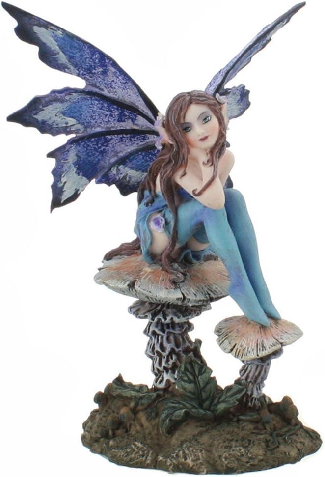 Amazon Com Ptc 6 25 Inch Nice Blue Fairy Sitting On Mushroom Statue Figurine Home Kitchen