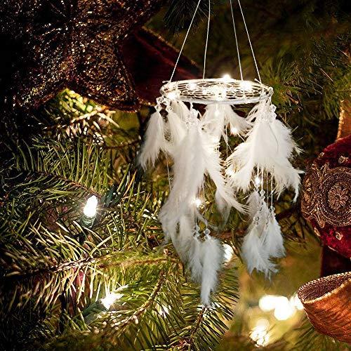 Tuscom White Luminous Pearl Handmade Feather Night Light Dream Catcher |for Girl Room Decoration Christmas Mysterious Blessing Gift Car Ornament Gift (White)