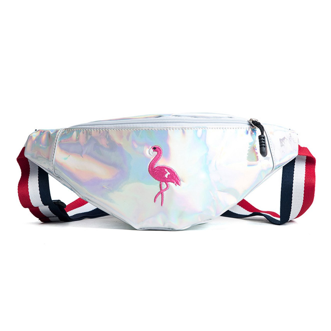 SEEU Fanny Pack Waist Bag for Girl, Shinny Hip Bum Bag for Outdoor Travel, Flamingo Pattern, PU