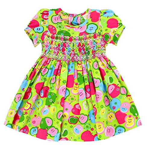 sissymini Infant & Toddler Puffed Sleeve Spring/Summer Green Apple Pie Hand Smocked Dress - (12M, 18M, 24M, 2T, 3T, 4T) (2T) (Smocked Apple)