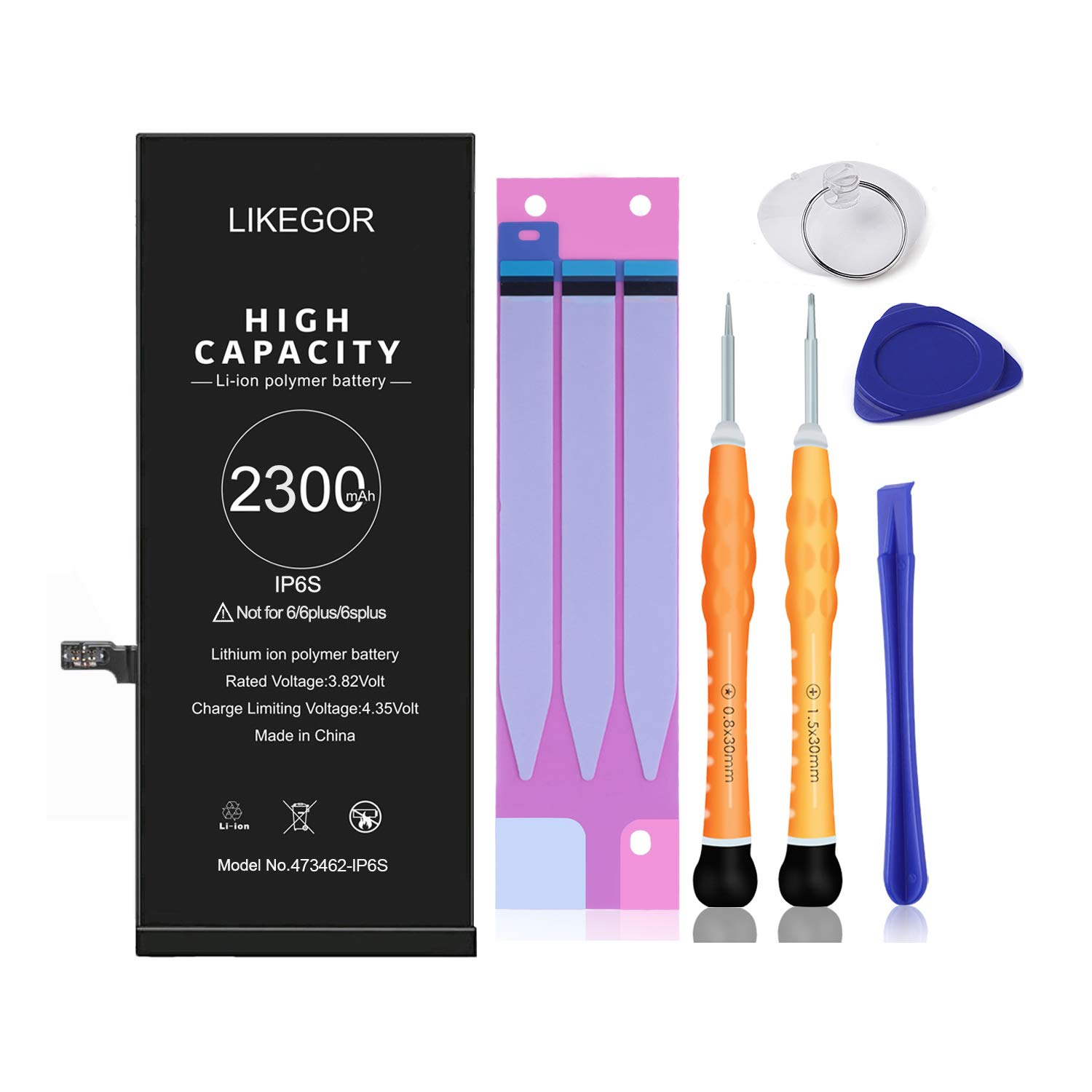LIKEGOR 2300mAh IP6S Battery Replacement for Model A1633 A1688 A1700 Battery with Complete Tool Kits, Adhesive Strips and Instruction (for iP6S Only)-24 Months Warranty by LIKEGOR