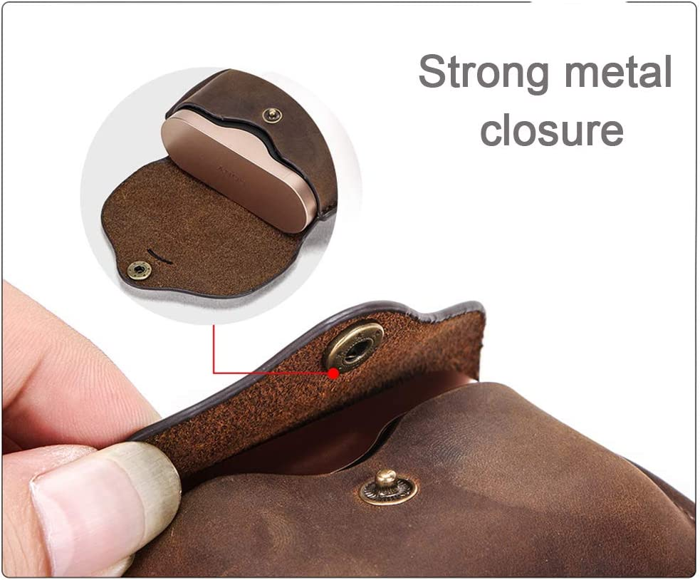 for wf-1000xm3 Case Blank, Coffee Genuine Leather Protective Case Cover Shockproof for Sony WF-1000xm3 Case Wireless Charging Case Personalized wf-1000xm3 Leather case with Carabiner