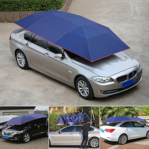 Super PDR Semi-Automatic Tent Movable Carport Blue Folded Portable Car Umbrella Universal Sunshade 157.48''X86.62''