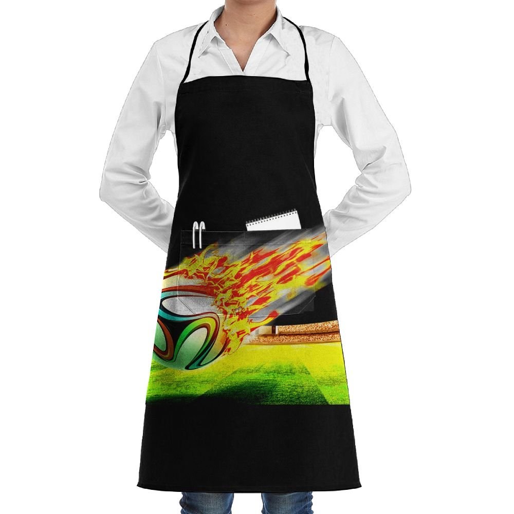 Crazy Soccer Printed Adjustable Bib Apron with Pocket Kitchen Chef Aprons for Men & Women, Extra-Long Ties,Black (1)