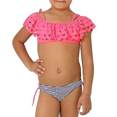 verschiedene Arten von detaillierter Blick großer Verkauf Candygirls Candygirls Kinder Bikini Set Herz Volant Streifen ...