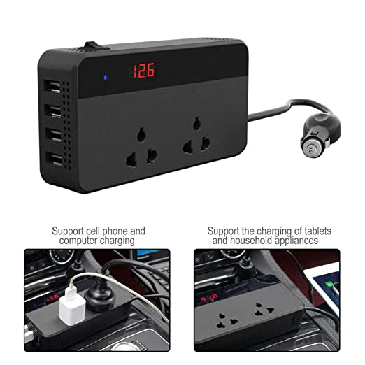 Inversor de Corriente 200W con 4 Puertos USB DC 12V / 24V a ...