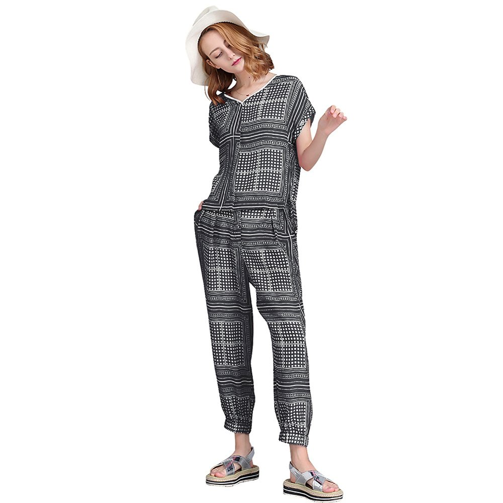 NOVMAY Women's Plus Size 2 Piece Outfits Top + Harem Pants Outfits Tracksuits Short Sleeve Casual Pantsuits Pajama Sets (Black, L)