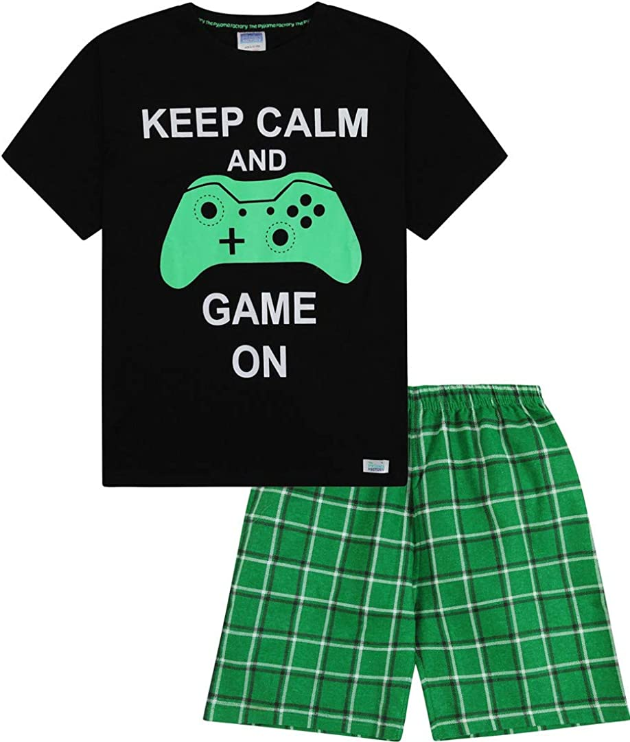 Boys Keep Calm and Game On Short Pyjamas 9-14 Years Green Checked