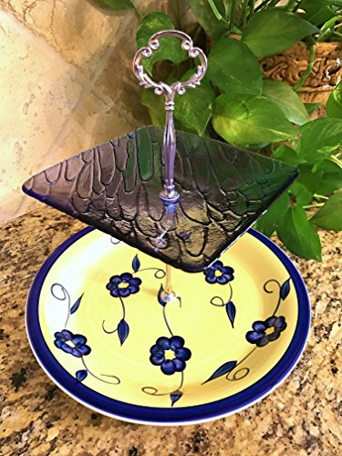 Two Tier Stand, Cake Stand, Cupcake Stand, Jewelry Stand, Vanity Tray, or Dessert, Appetizer, Tidbit. Vintage, Shabby Chic, Royal Blue Glass