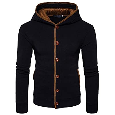 Abetteric Men Solid Long-Sleeve Button Down Hooded Hoodies Outwear