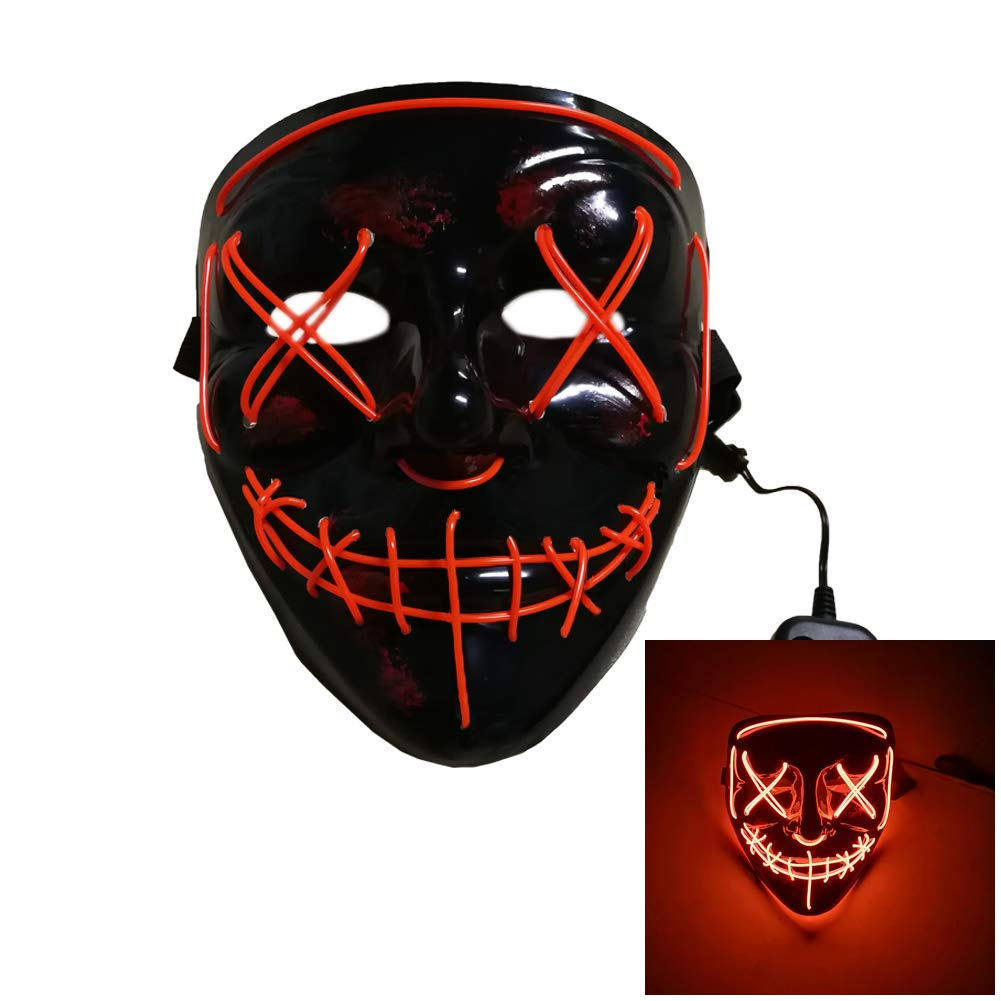 HAOAN LED Light up Mask Halloween Scary Mask for Festival Cosplay Parties Costume