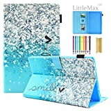 Kindle Fire HD 8 Case,LittleMax PU Leather Case Flip Stand Protective Auto Wake/Sleep Cover for Amazon Kindle Fire HD 8 7th Gen & 6th Gen with Free Stylus - 05 Blue Sand