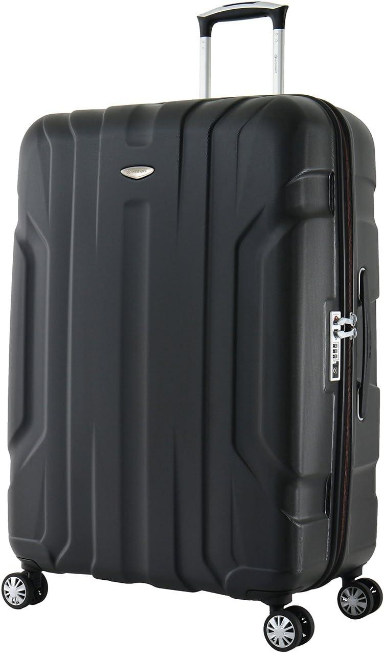 Eminent Maleta Grande X-Tec 76cm 102L Ultra Ligera con 4 Ruedas multidireccionales Policarbonato Rígido, Candado TSA & Mango telescópico Negro